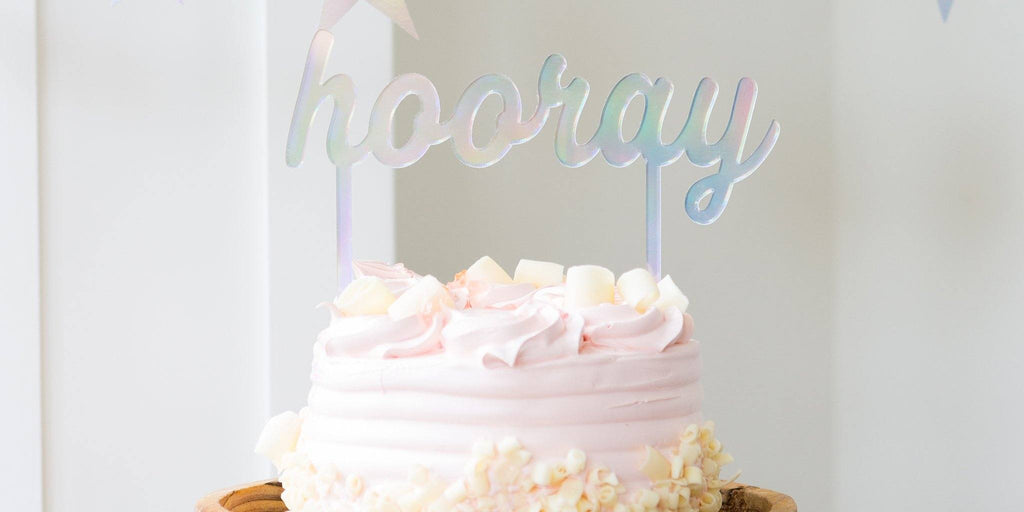 "Holographic ""Hooray"" Cake Topper - Revelry Goods"