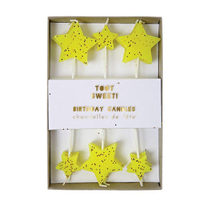 Yellow Glitter Star Candles - Revelry Goods
