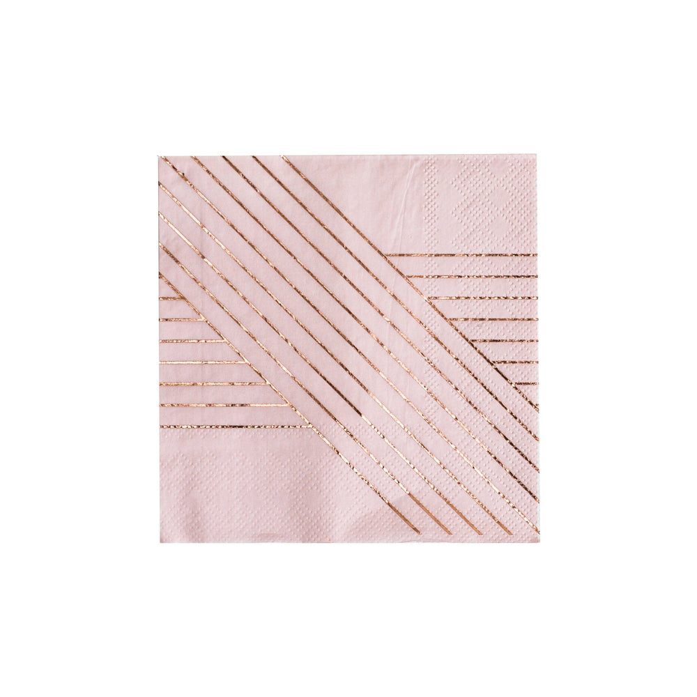 Amethyst Pale Pink Striped Cocktail Napkins