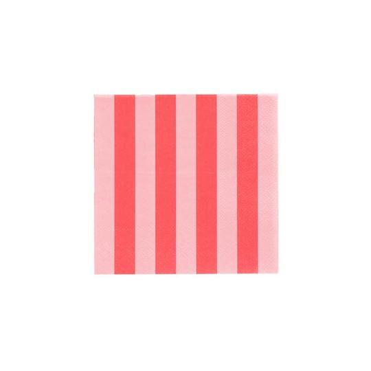 Blush & Cherry Red Striped Cocktail Napkins - Revelry Goods
