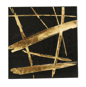 Noir Black Brush Strokes Cocktail Paper Napkins - Revelry Goods