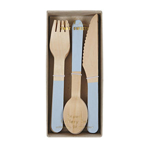 Blue Wooden Cutlery Set - Revelry Goods