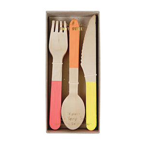 Neon Wooden Cutlery Set - Revelry Goods