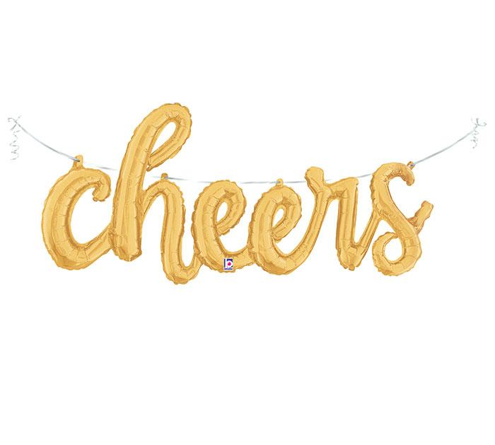 """Cheers"" Gold Script Foil Balloon - Revelry Goods"