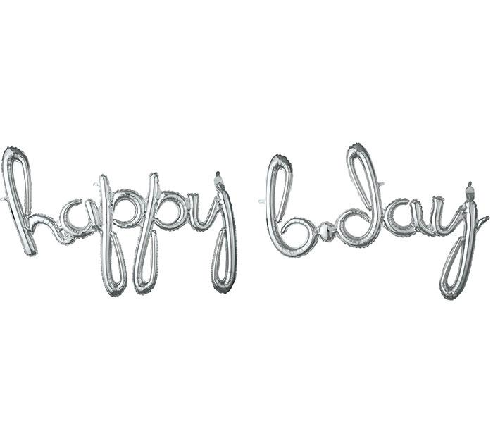 """Happy Bday"" Silver Script Foil Balloon - Revelry Goods"