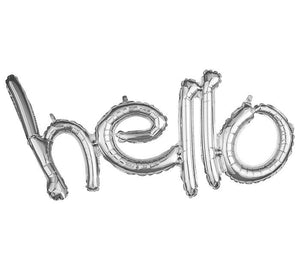 "Load image into Gallery viewer, ""Hello"" Silver Script Foil Balloon - Revelry Goods"