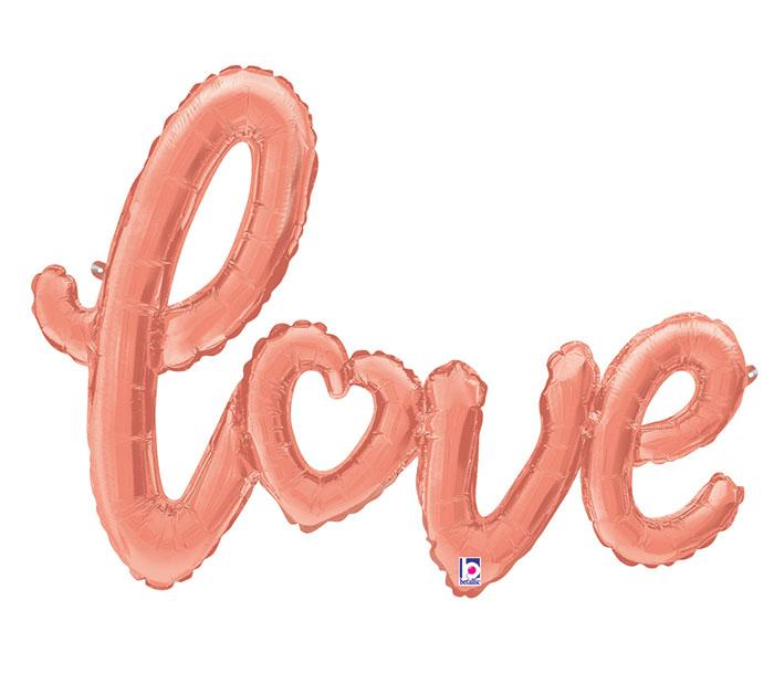 """Love"" Rose Gold Script Foil Balloon - Revelry Goods"