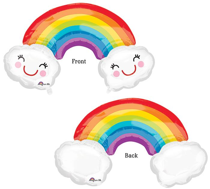 Rainbow & Clouds Foil Balloon - Revelry Goods