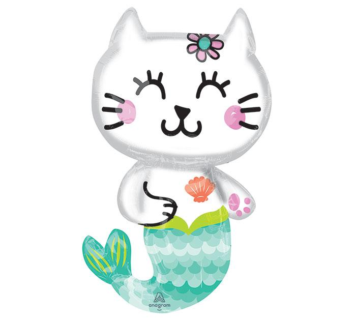 Selfie Celebration Mermaid Cat Foil Balloon - Revelry Goods