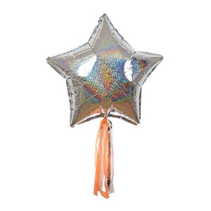Load image into Gallery viewer, Silver Sparkle Star Foil Balloons - Revelry Goods