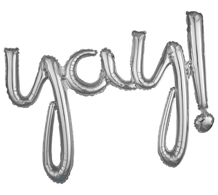 "Load image into Gallery viewer, ""Yay"" Silver Script Foil Balloon - Revelry Goods"