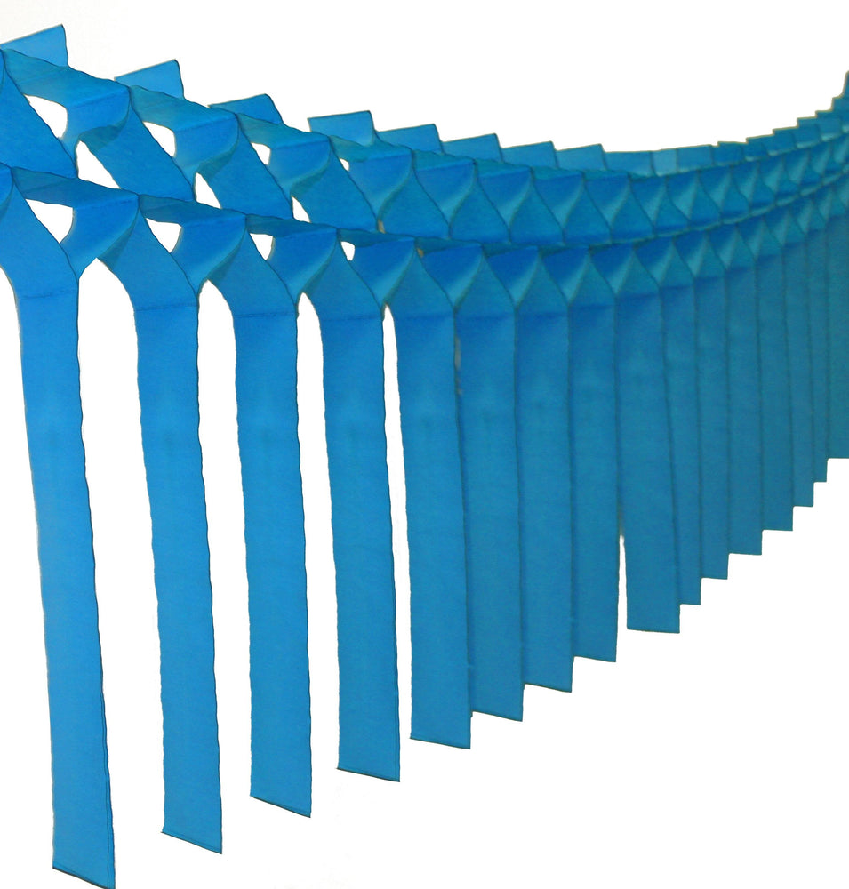 Load image into Gallery viewer, Turquoise Blue Fringe Streamer Garland - Revelry Goods