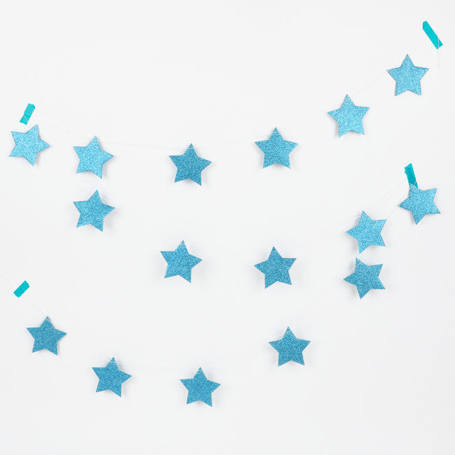 Load image into Gallery viewer, Blue Glitter Stars Garland - Revelry Goods