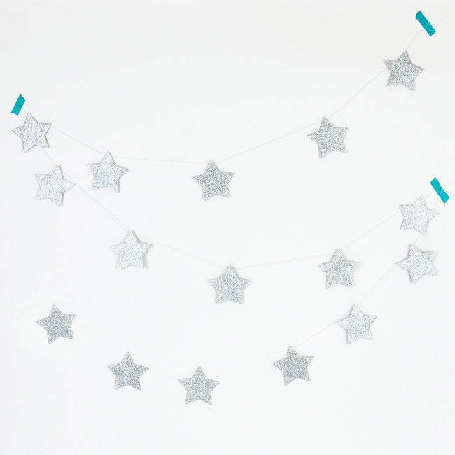 Load image into Gallery viewer, Silver Glitter Stars Garland - Revelry Goods