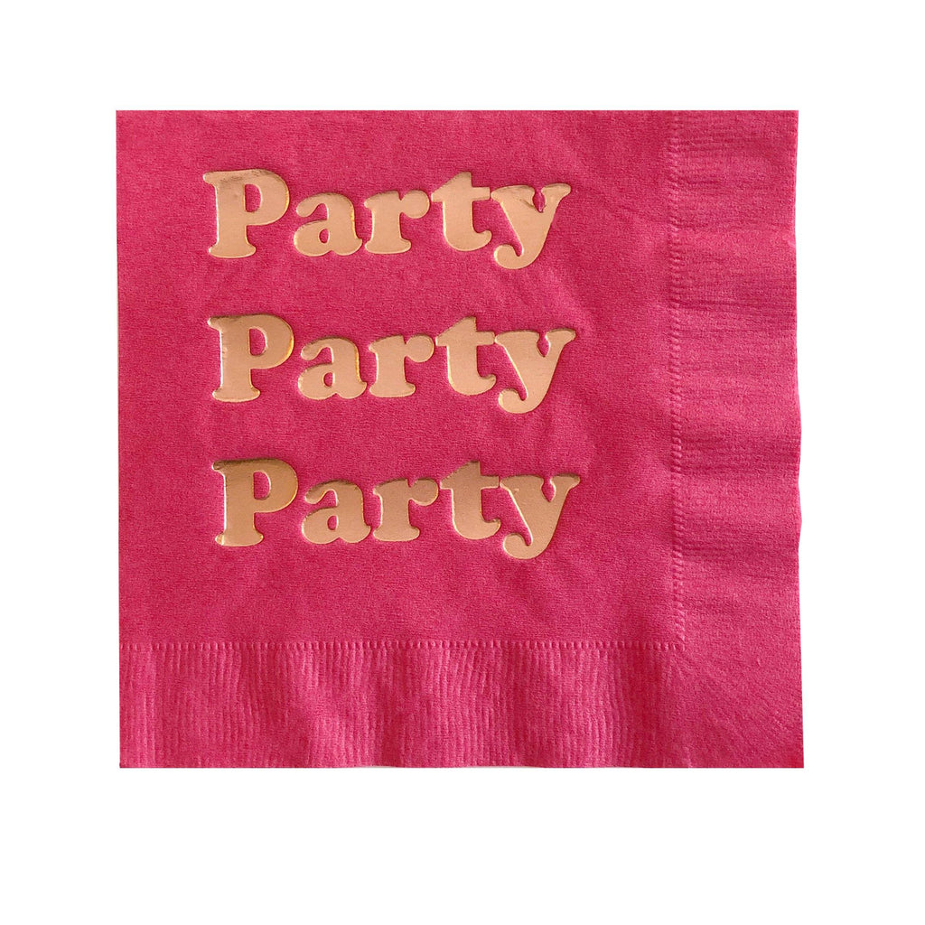 Party Foil Napkins - Hot Pink and Rose Gold Foil - Revelry Goods