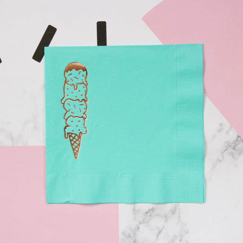 Scoops Foil Napkins - Bright Aqua - Revelry Goods