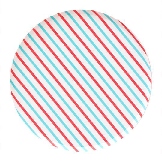 Cherry & Sky Striped Large Plates - Revelry Goods