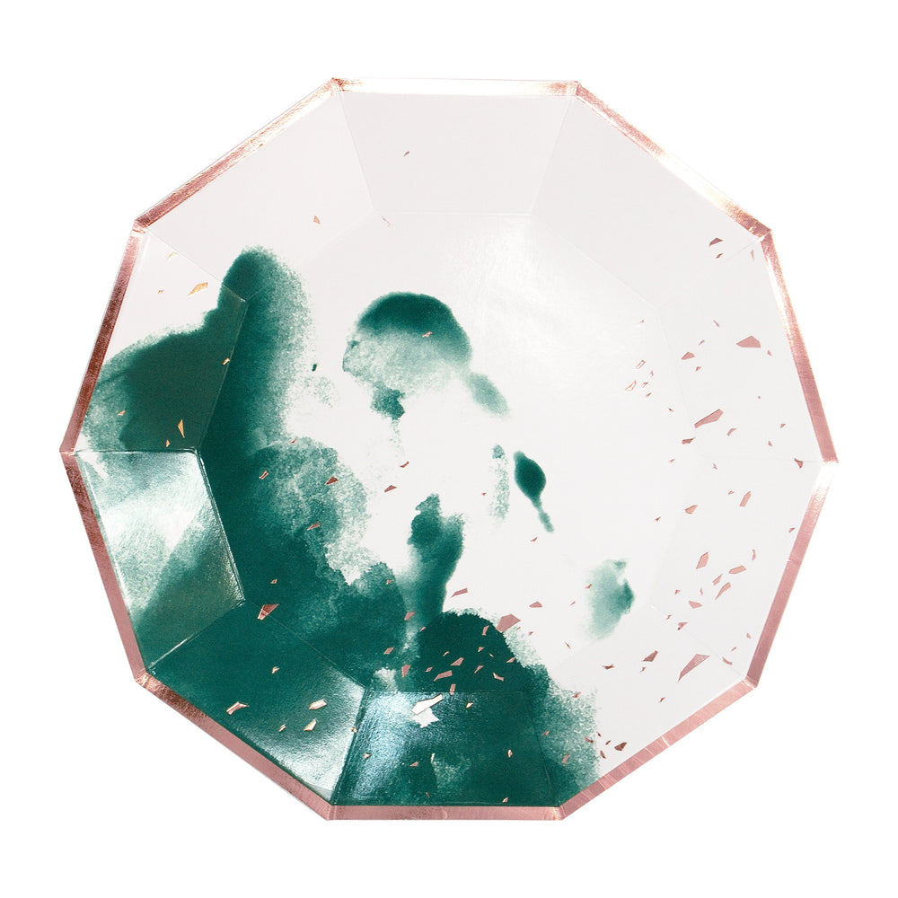 Manhattan Dark Green Watercolor Large Plates - Revelry Goods