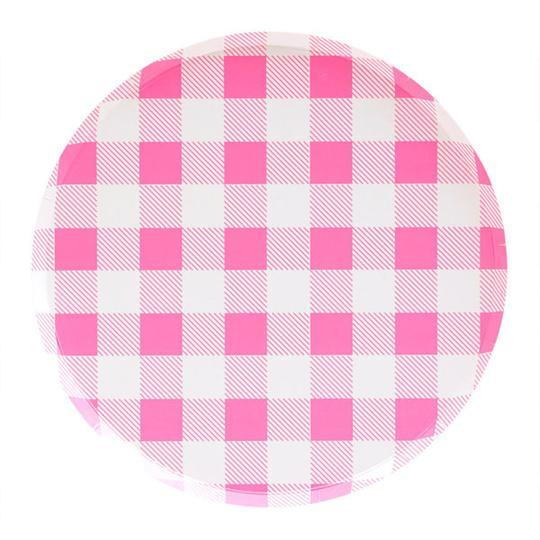 Neon Rose Gingham Large Plates - Revelry Goods