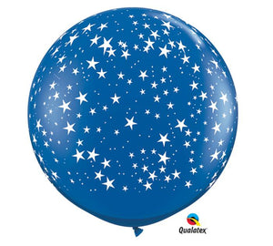 Stars on Sapphire Blue Round Latex Balloons- Set of 2 - Revelry Goods