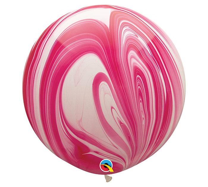 Superagate Red & White Jumbo Round Latex Balloons- Set of 2 - Revelry Goods