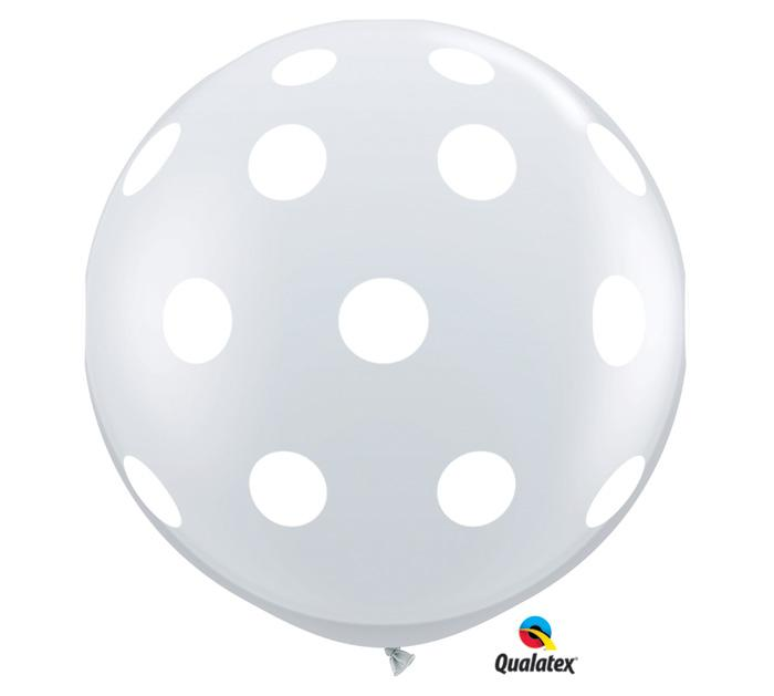 Qualatex White Polka Dot on Clear 3' Round Latex Balloons- Set of 2 from Revelry Goods modern party store