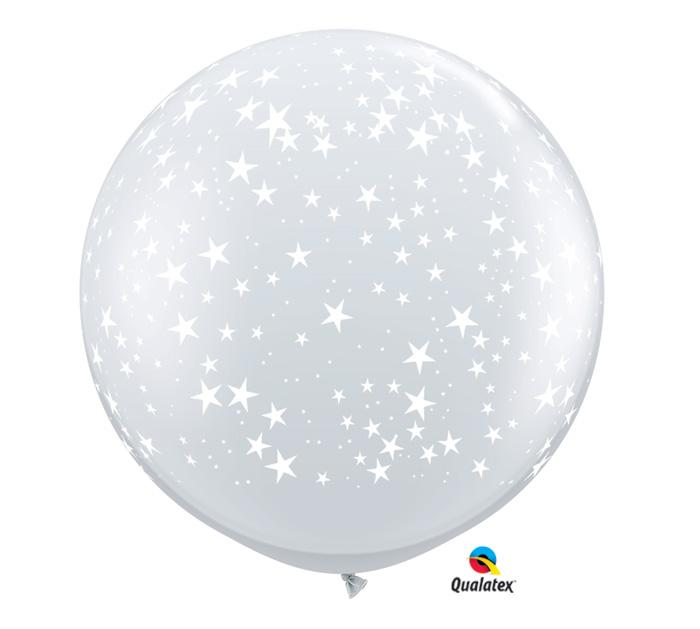 Qualatex White Stars 3' Round Latex Balloons- Set of 2 from Revelry Goods modern party store