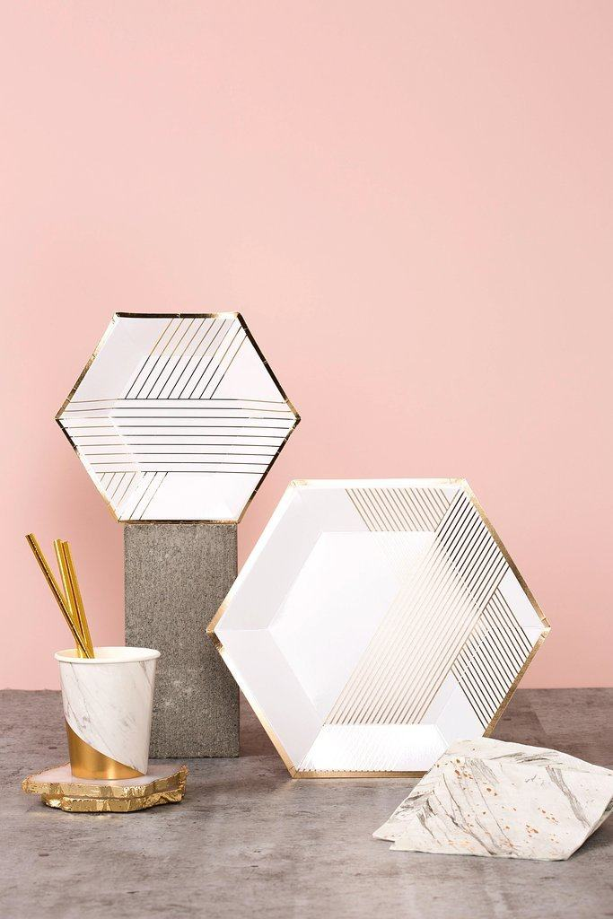 Blanc White Marble Colorblock Paper Cups - Revelry Goods