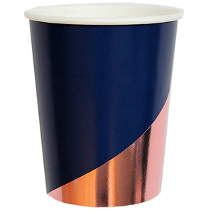 Erika Navy Colorblock Paper Cups - Revelry Goods