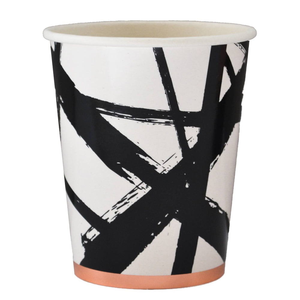 Muse Black and White Brush Strokes Paper Cups - Revelry Goods