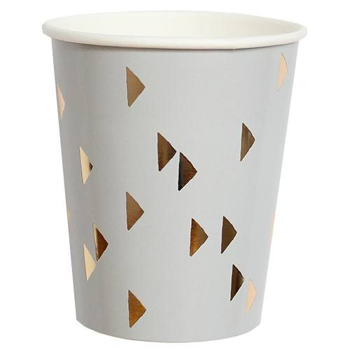 Wander Gray Triangle Paper Cups - Revelry Goods