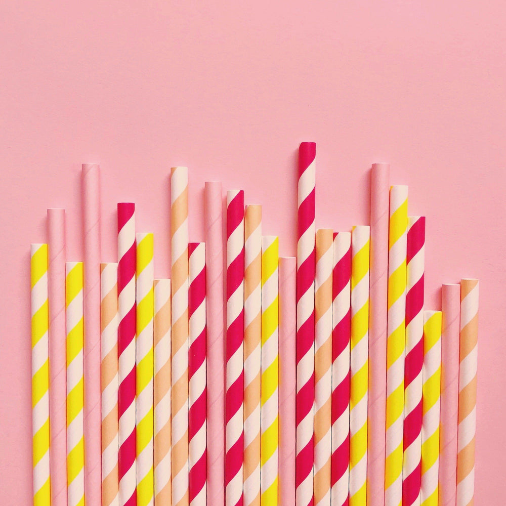 Lemon Slice Paper Straws- Mixed Pack