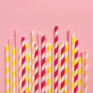 Load image into Gallery viewer, Lemon Slice Paper Straws- Mixed Pack - Revelry Goods