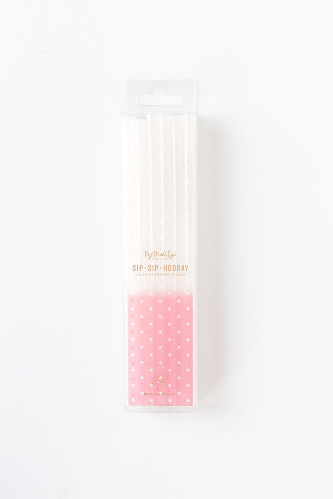 Light Pink & White Polka Dots Color Changing Straws - Revelry Goods
