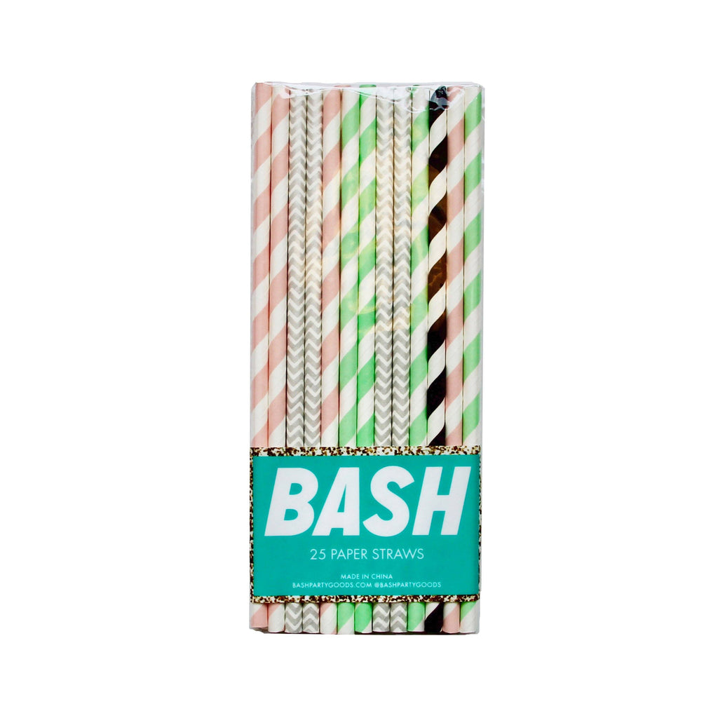 Memphis Pastels Paper Straws- Mixed Pack - Revelry Goods