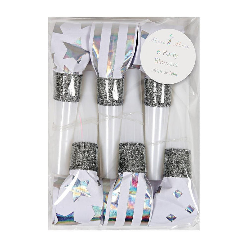 Silver Party Blowers - Revelry Goods