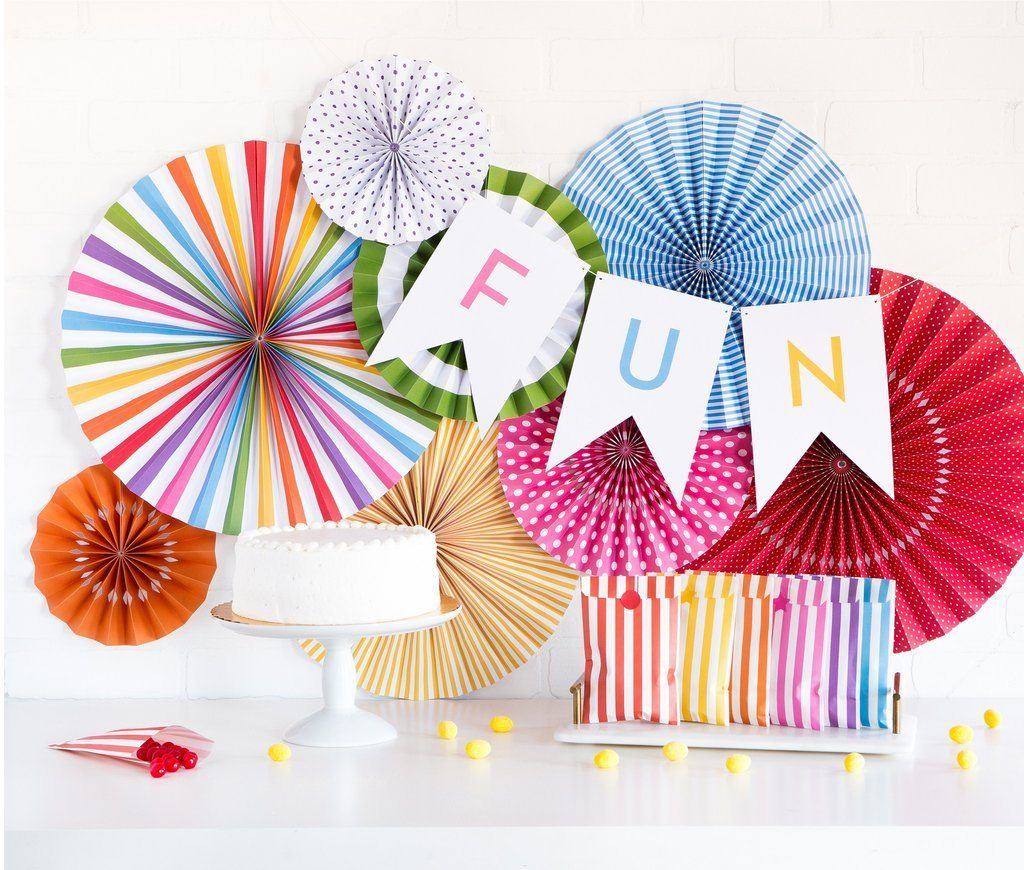 Bright Birthday Party Fans - Revelry Goods