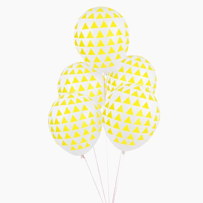 My Little Day Yellow Triangles Printed Latex Balloons | Bio-degradable Balloons | Revelry Goods
