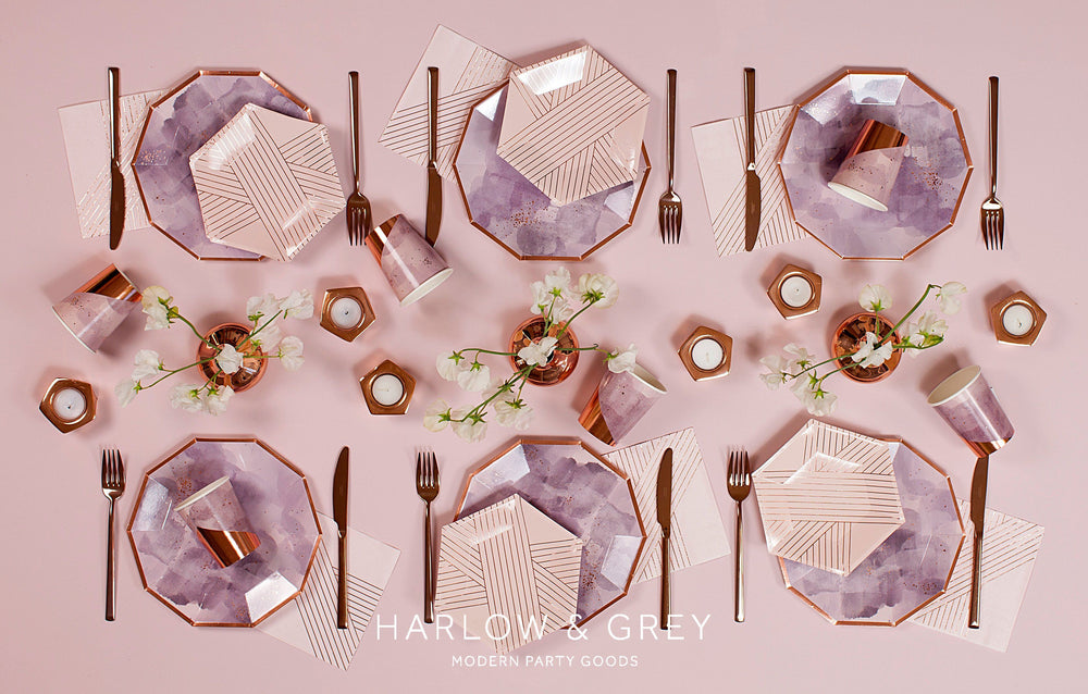 Amethyst Pale Pink Striped Small Plates - Revelry Goods