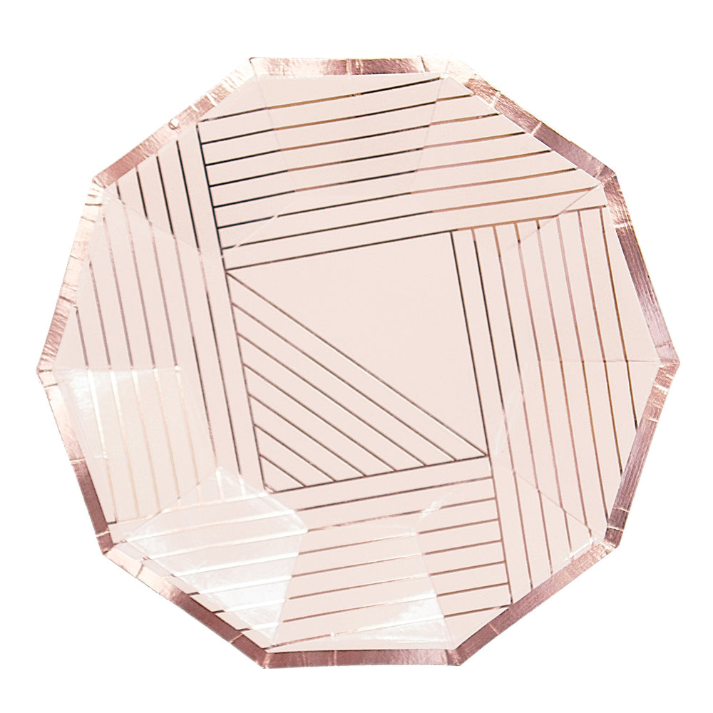 Load image into Gallery viewer, Manhattan Pale Pink Striped Small Plates - Revelry Goods