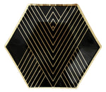 Noir Black Striped Small Paper Plates