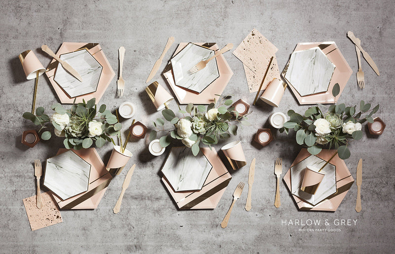 White Marble Small Paper Plates - Revelry Goods