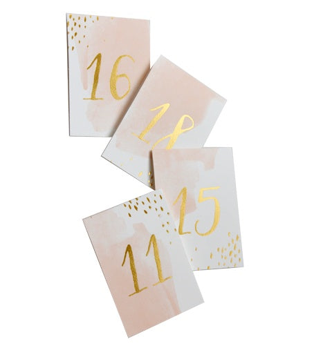Daydream Peach Watercolor Paper Table Numbers 11-20 - Revelry Goods