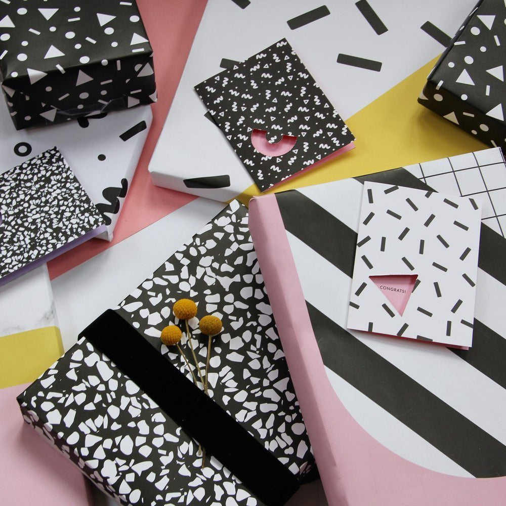 Black & White Speckle Gift Wrap Roll - Revelry Goods