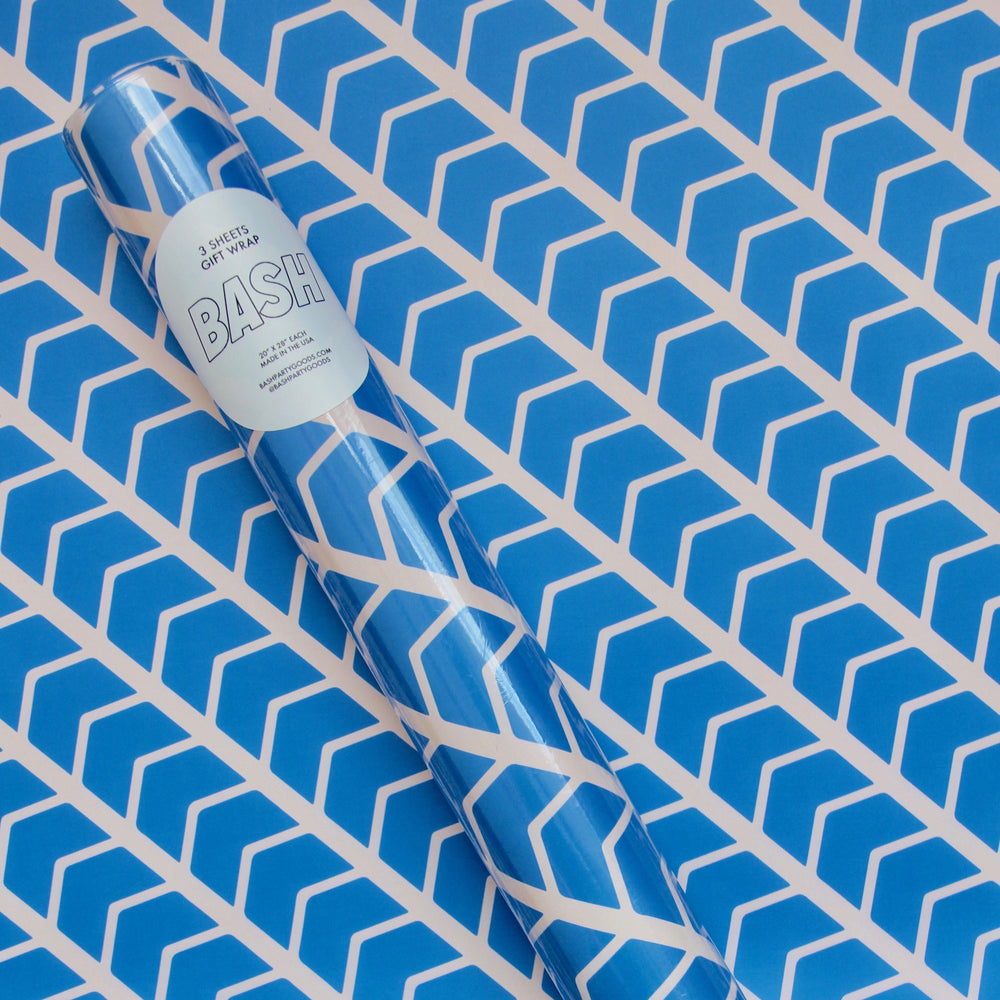 Load image into Gallery viewer, Blue Zig Zag Gift Wrap Roll - Revelry Goods