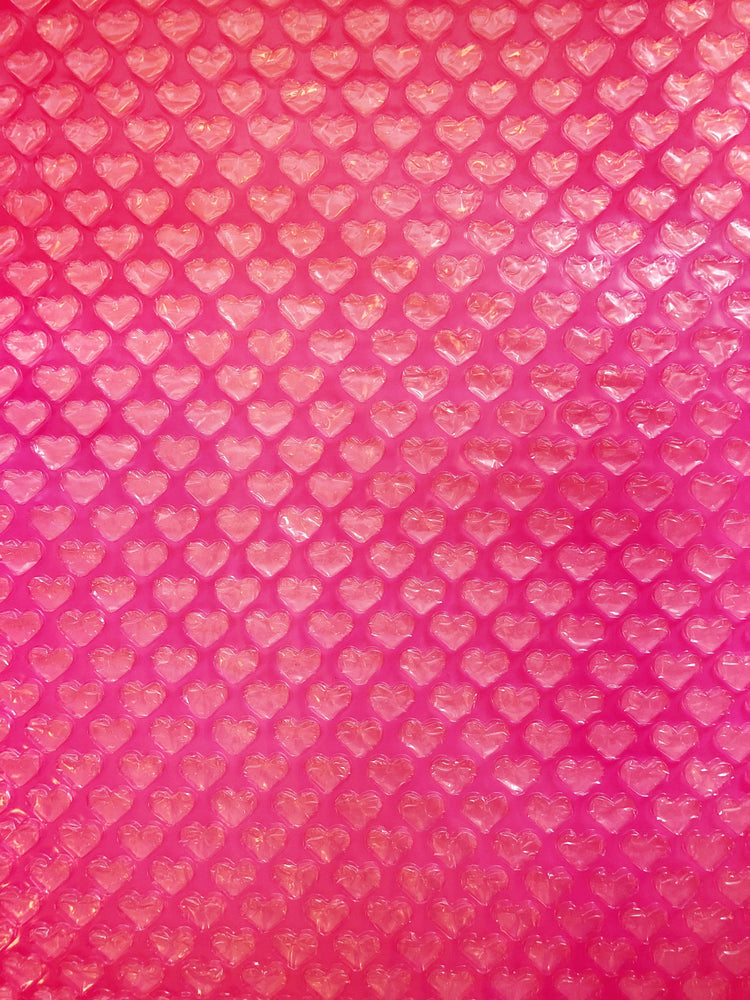 Hot Pink Transparent Heart Bubble Wrap Sheet - Revelry Goods