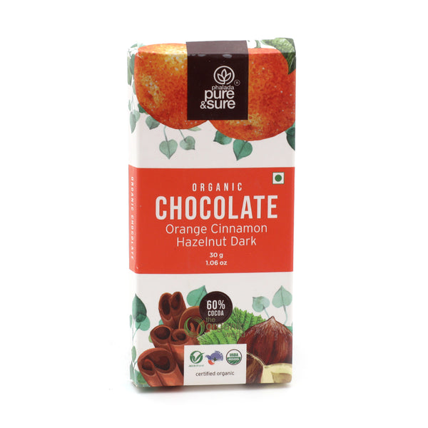PHALADA PURE AND SURE - CHOCOLATE BAR ORANGE CINNAMON HAZELNUT DARK, 30 GM