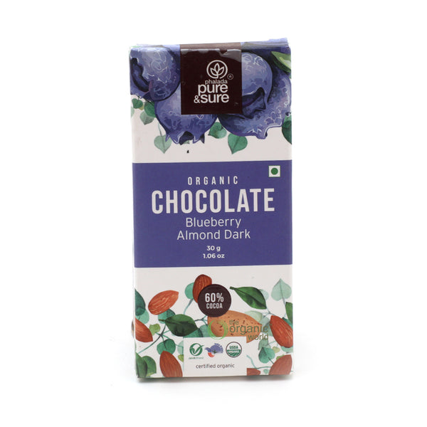 PHALADA PURE AND SURE - CHOCOLATE BAR BLUEBERRY ALMOND, 30 GM
