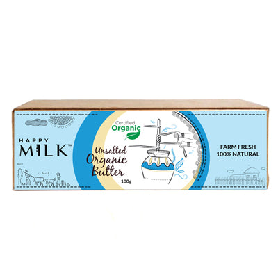 HAPPY MILK - ORGANIC UNSALTED BUTTER, 100 GM