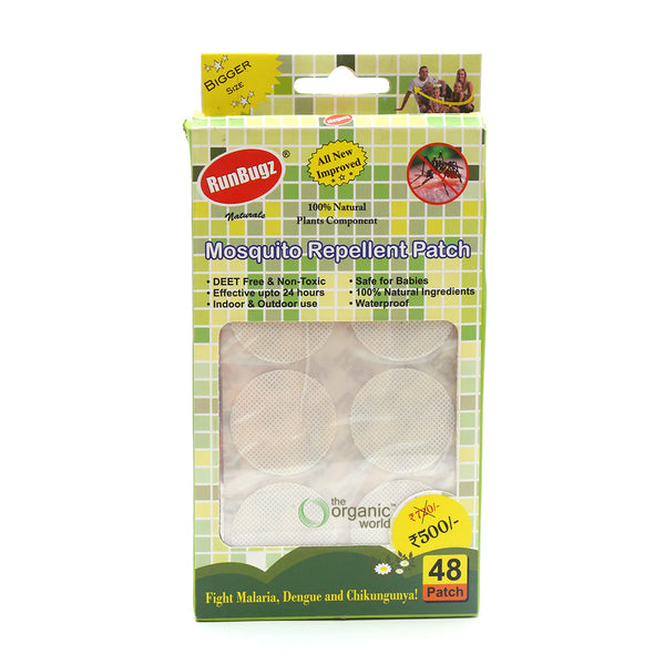RUNBUGZ - MOSQUITO REPELLENT PATCHES IN PLAIN COLOURS, 48 PCS